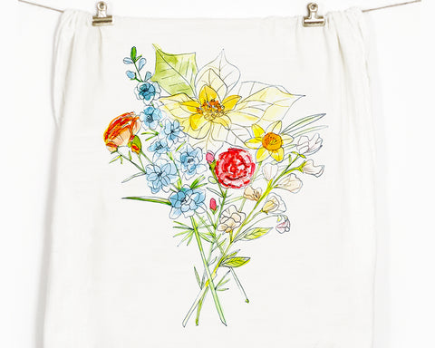 Flowers No.2 Flour Sack Tea Towel