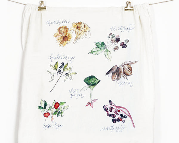 Foraged Foods Flour Sack Tea Towel - Honey Brush Design