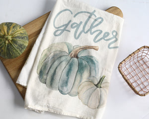 Blue Pumpkin Flour Sack Tea Towel - Honey Brush Design