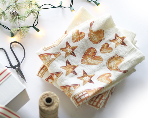 Nordic Gingerbread Flour Sack Tea Towel - Honey Brush Design