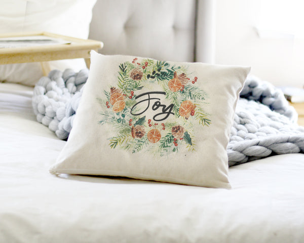 Joy Canvas Pillow Cover - Honey Brush Design