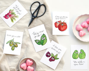 Fruit + Veggie Printable Valentines - Honey Brush Design
