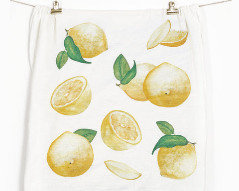 Lemon Flour Sack Tea Towel