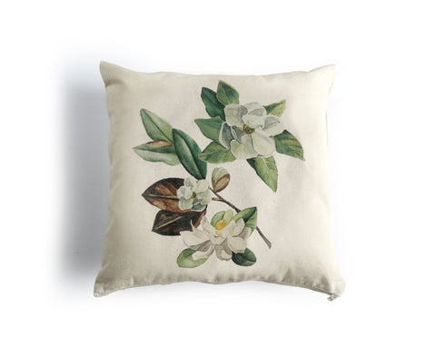 Magnolia Canvas Pillow Cover, Floral Pillow - Honey Brush Design