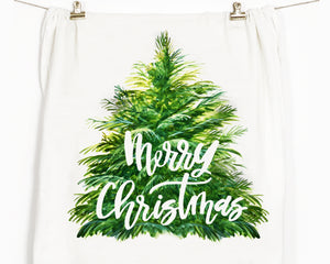 Merry Christmas Tree Flour Sack Tea Towel