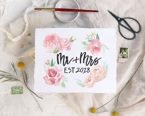 'Mr and Mrs 2018' Print - Honey Brush Design