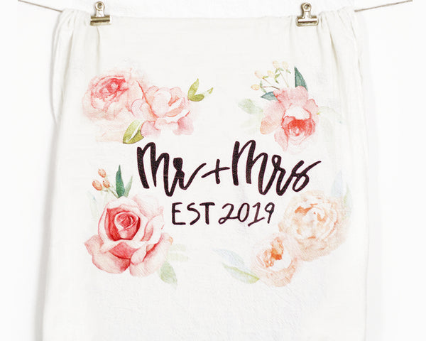 Mr and Mrs Est. 2019 Flour Sack Tea Towel - Honey Brush Design