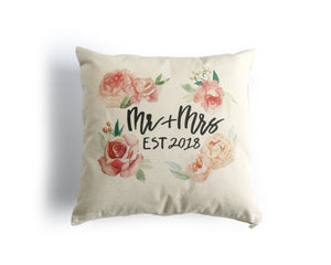 Mr and Mrs 2018 Canvas Pillow Cover - Honey Brush Design