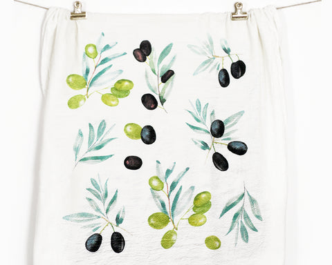 Olives Flour Sack Tea Towel