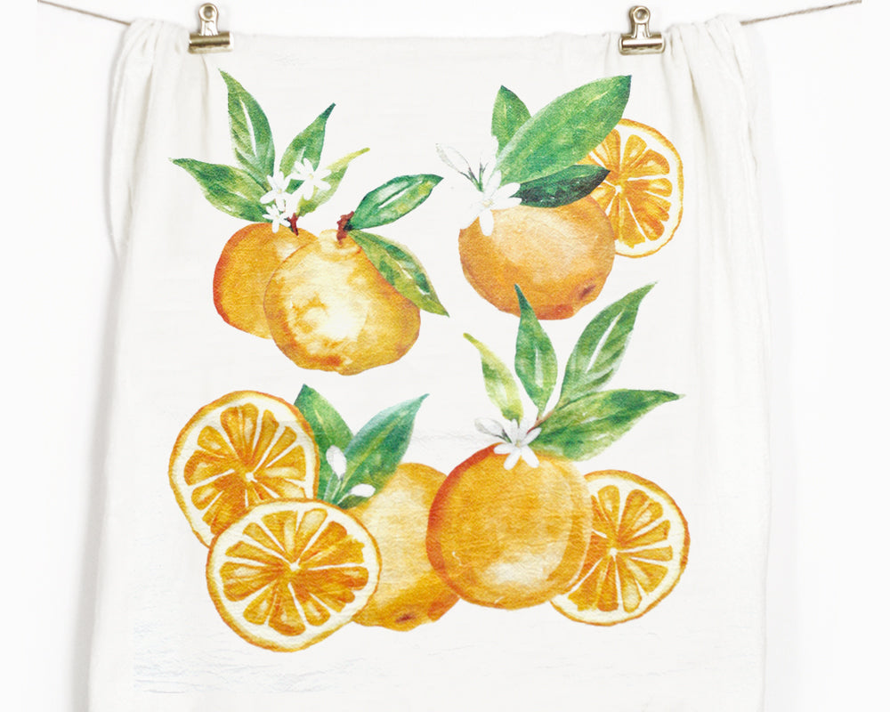 Orange Flour Sack Tea Towel