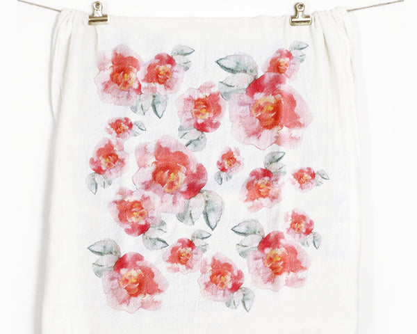Pink Flower Flour Sack Tea Towel