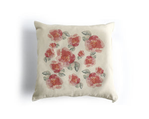 Pink Flowers Canvas Pillow Cover - Honey Brush Design