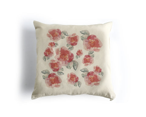 PRE-SALE Pink Flowers Canvas Square Pillow Cover