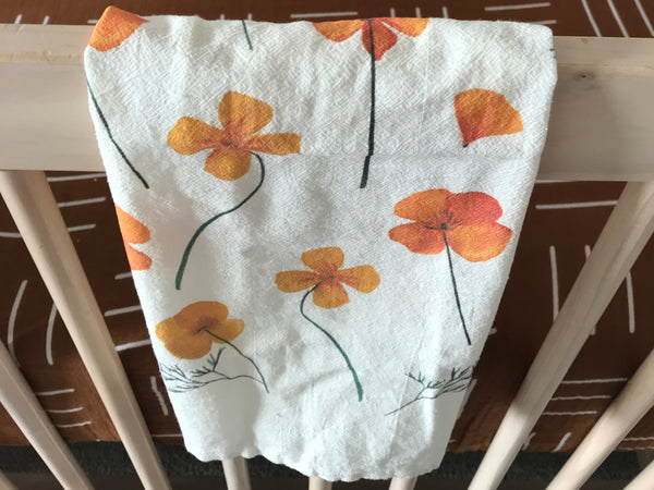 Pressed Poppies Baby Burp Cloths