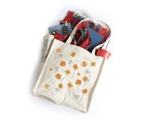 PRE-SALE Pressed Poppies Tote Bag - Honey Brush Design