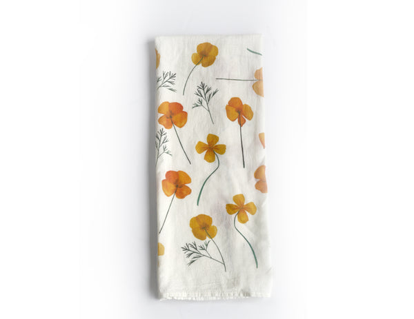Pressed Poppies Flour Sack Tea Towel - Honey Brush Design