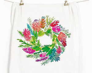 Protea Wreath Flour Sack Tea Towel