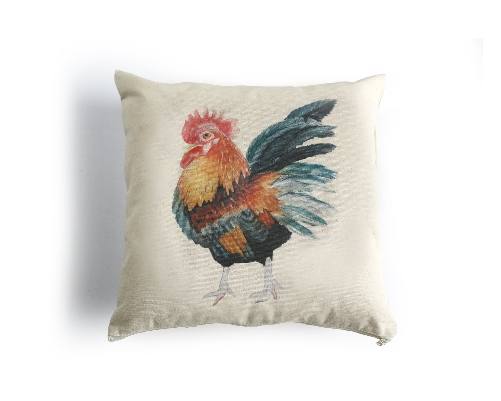 Rooster Canvas Pillow Cover - Honey Brush Design