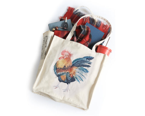 Rooster Tote Bag - Honey Brush Design
