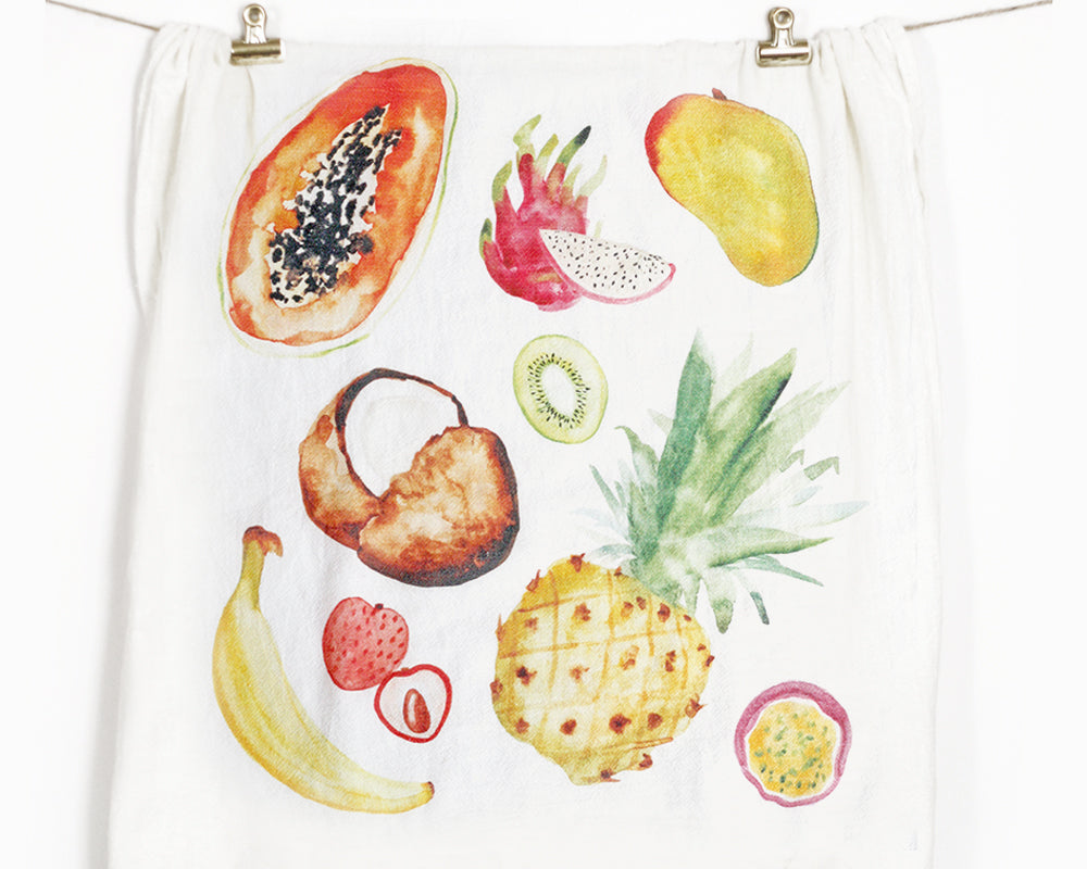 Tropical Fruits Flour Sack Tea Towel - Honey Brush Design