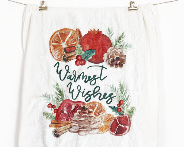 Warmest Wishes Flour Sack Tea Towel - Honey Brush Design