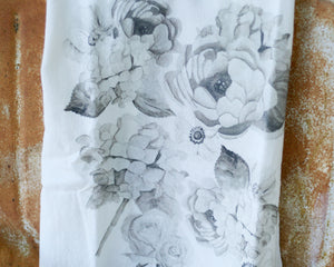 Black and White Flour Sack Tea Towel