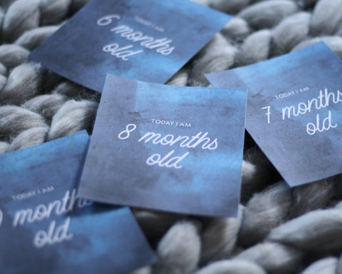 Blue Wash Baby Milestone Cards
