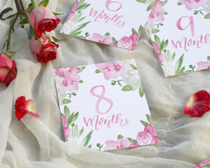 Pink Bouquet Baby Milestone Cards