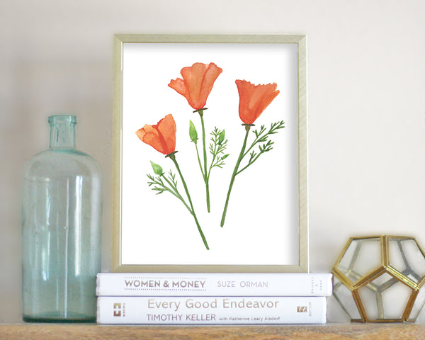 'Golden Poppies' Printable - Honey Brush Design