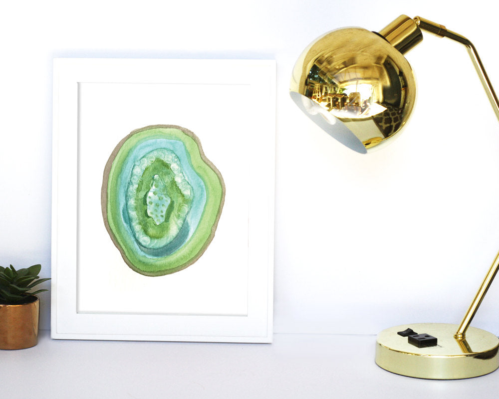 'Green Geode' Printable - Honey Brush Design