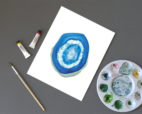 'Blue Geode' Printable - Honey Brush Design