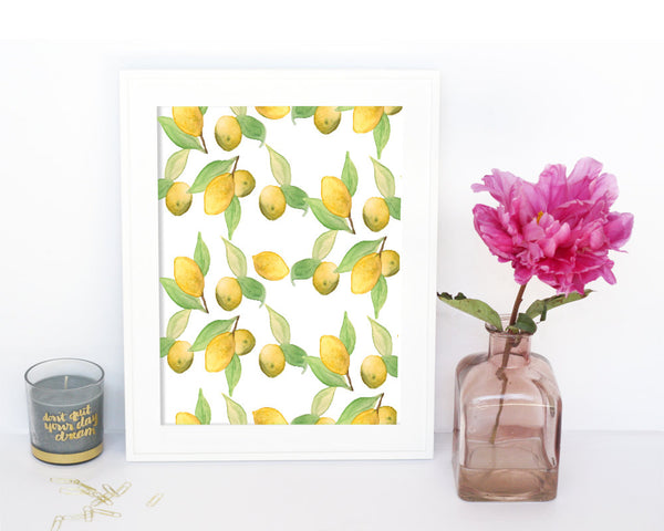 'Lemon Pattern' Printable - Honey Brush Design