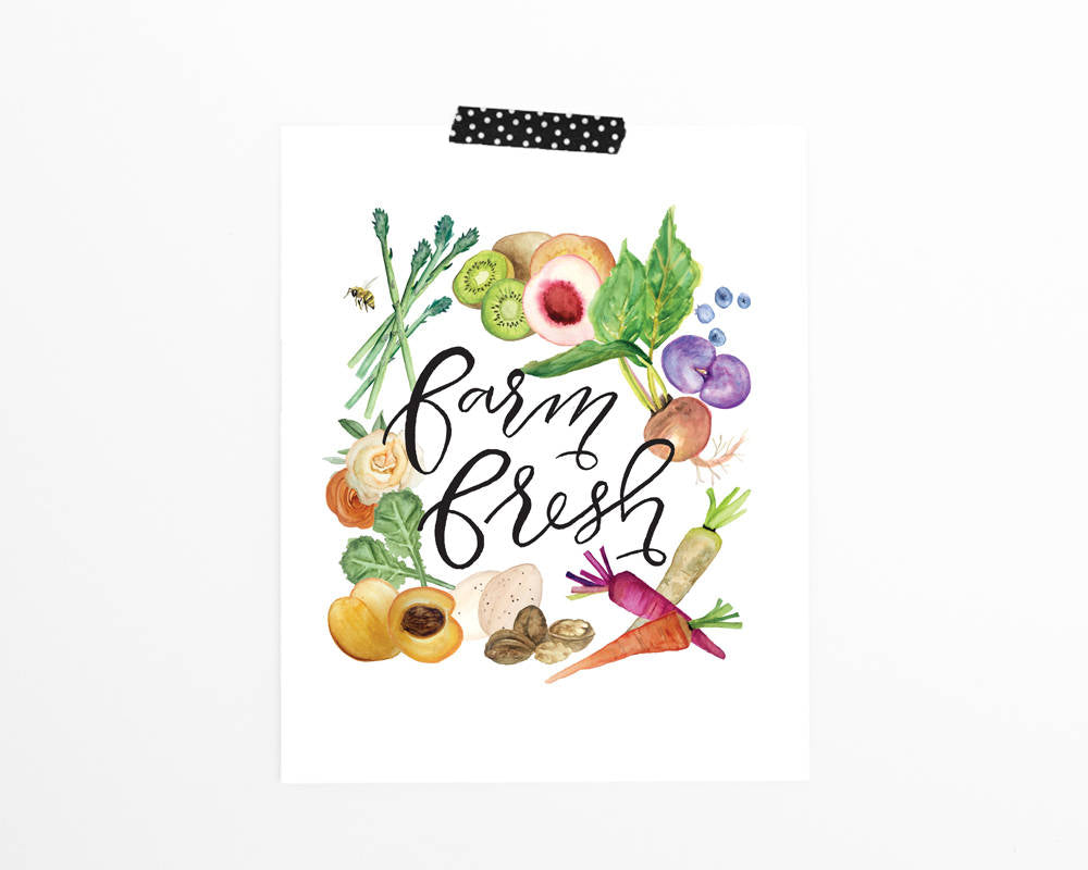 'Farm Fresh' Printable - Honey Brush Design