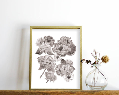 'Black and White Floral' Printable - Honey Brush Design