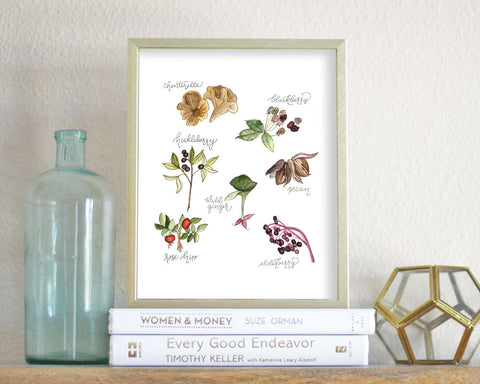 'Foraged Foods' Printable - Honey Brush Design