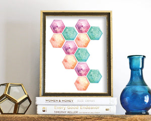 'Hexagon' Printable - Honey Brush Design