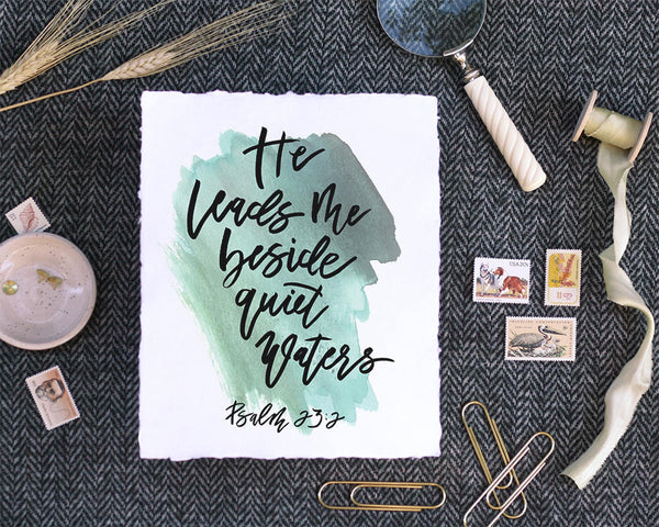 'Psalm 23:2' Print - Honey Brush Design