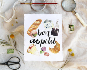 'Bon Appetit' Print - Honey Brush Design