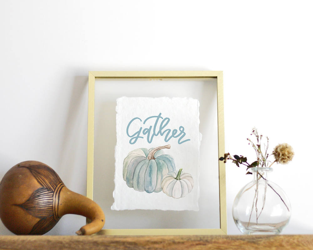 'Blue Pumpkins' Print - Honey Brush Design
