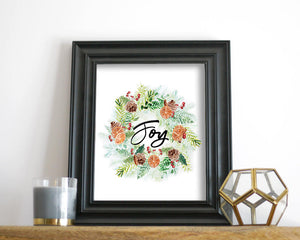 'Joy Wreath' Printable - Honey Brush Design