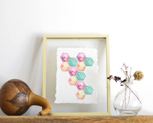 'Hexagon' Print - Honey Brush Design