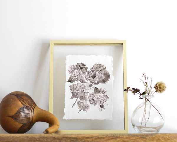 'Black + White Floral' Print - Honey Brush Design