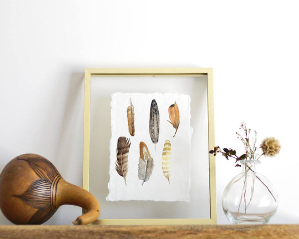 'Feather Study' Print - Honey Brush Design