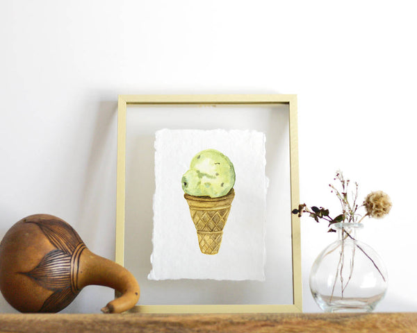 Ice Cream Cone Print, Handmade Paper, Kitchen Print, Deckled Edge Wall Art, Watercolor Print, Handmade Paper Print, Watercolor Print - Honey Brush Design