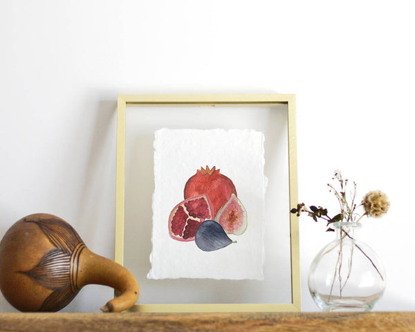 'Pomegranate  and Figs' Print - Honey Brush Design