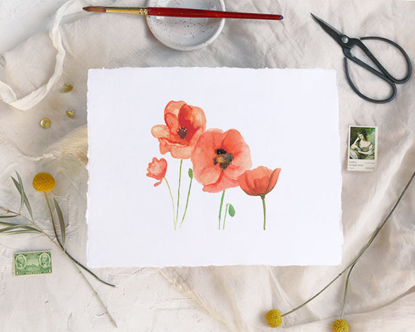 'Poppies' Print - Honey Brush Design