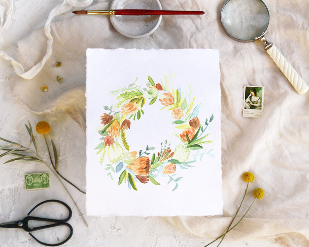 'Floral Wreath' Print - Honey Brush Design