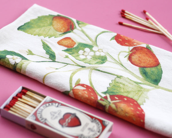 Strawberry Flour Sack Tea Towel - Honey Brush Design