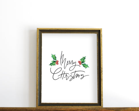 'Merry Christmas' Printable - Honey Brush Design