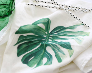 Monstera Flour Sack Tea Towel